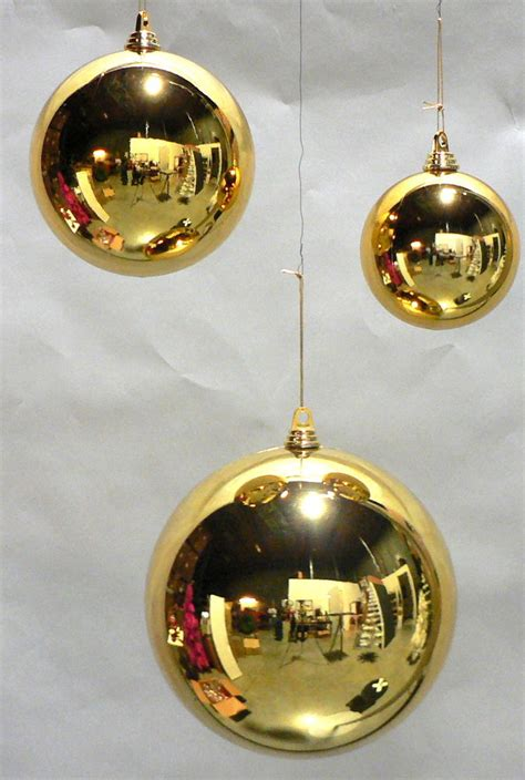 2 large shiny 5 quot gold christmas balls outdoor plastic