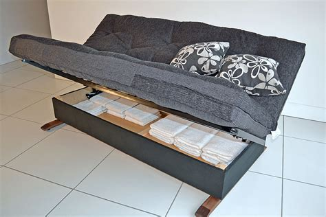 gray futon bed with storage underneath decofurnish
