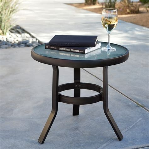 Patio Accent Tables Small Glass Patio Side Table Icamblog