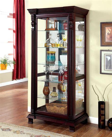 cherry curio cabinets cheap tulare dark cherry curio from furniture of america