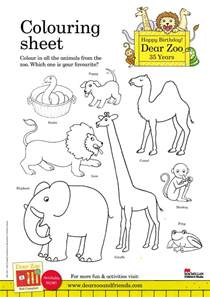 dear zoo amp friends dear zoo colouring sheet