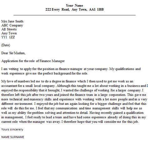 finance manager cover letter sample lettercvcom