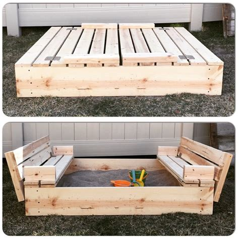 sandbox with folding benches diy sandbox with fold out seats mrs happy homemaker