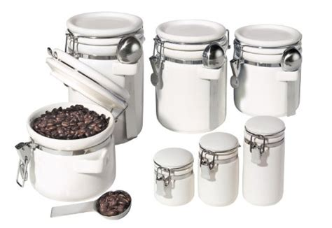 oggi 7 ceramic airtight canister set white rings
