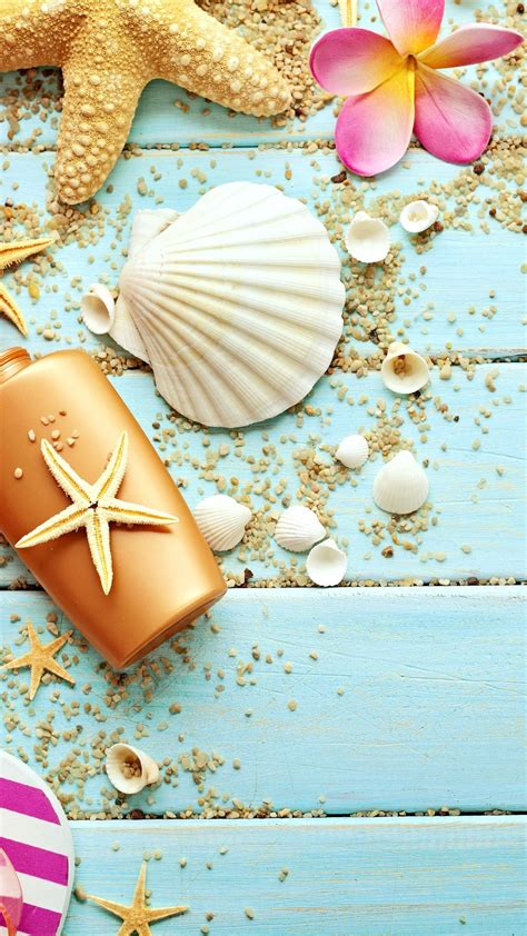 wallpaper for iphone 6 summer blue wood seashells sea star iphone 6 plus hd wallpaper