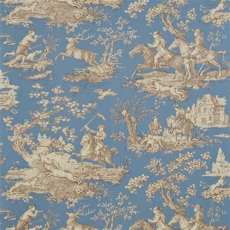 wallpaper toile blue stag hunting wallpaper blue sepia stone degtst102