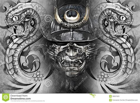 japanese tattoo background designs japanese mask and snakes design stock illustration