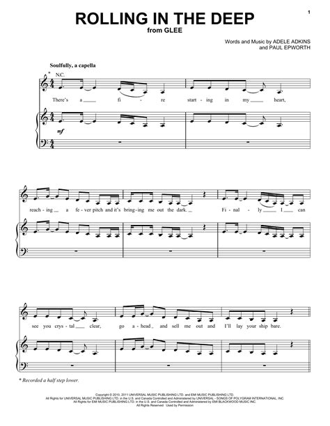 tutorial piano rolling in the deep rolling in the deep sheet music by glee cast piano vocal