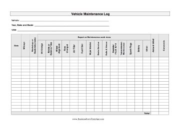 Auto Maintenance Log Template Tire Inventory Template