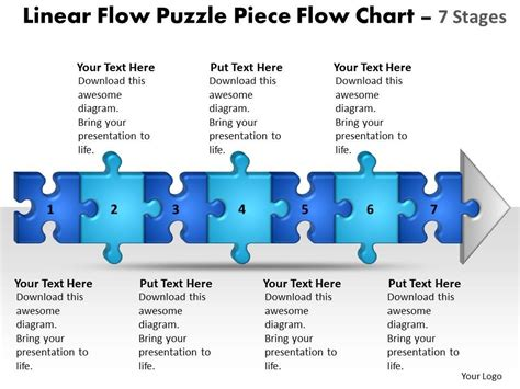 business powerpoint templates linear flow puzzle piece