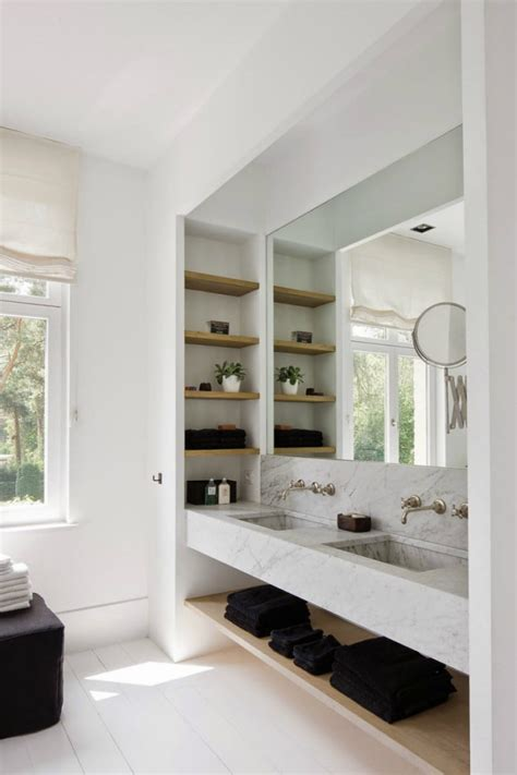 Modern Bathroom Shelves 30 Cool Ideas To Use Big Mirrors In Your Bathroom Digsdigs