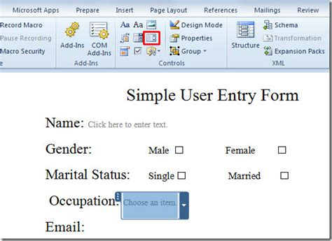 create user entry forms in word 2010