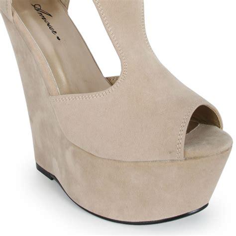 faux suede wedge heels womens formal platform