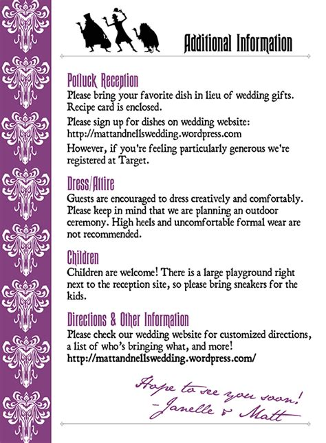 wedding invitations additional information exles graphic design gallery tentacular design