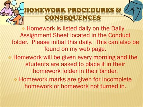 Elementary Homework School by Elementary Homework Consequences