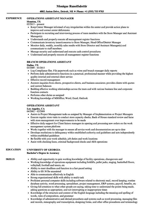 resume format for assistant manager operations bpo operations assistant resume sles velvet