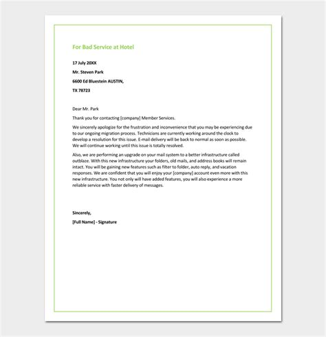 Letter Of Apology Regarding Bad Service Restaurant Apology Letter To Customers 4 Sles Formats