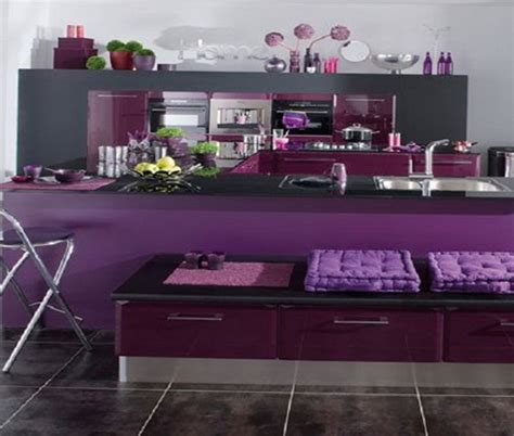 purple and lilac kitchen in the interior home interior