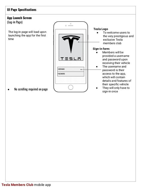 app design brief ui design brief tesla app