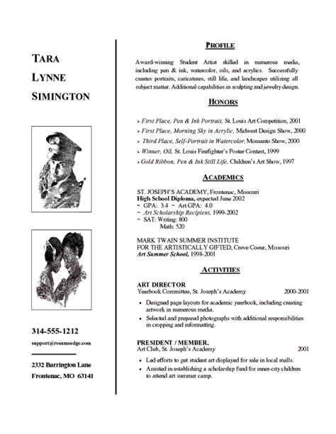 resume format for arts students school admission resume