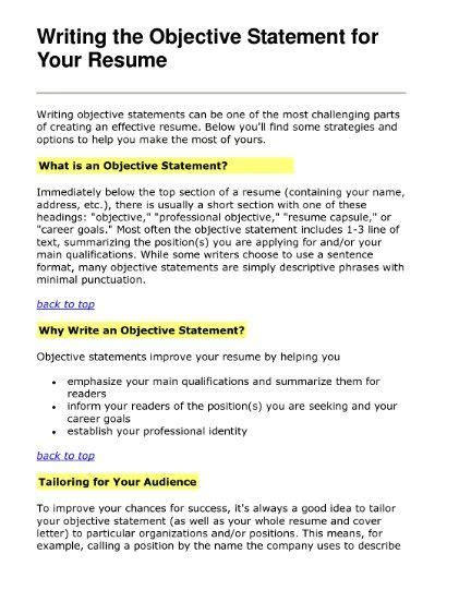 career objective sentence resume objective and resume on
