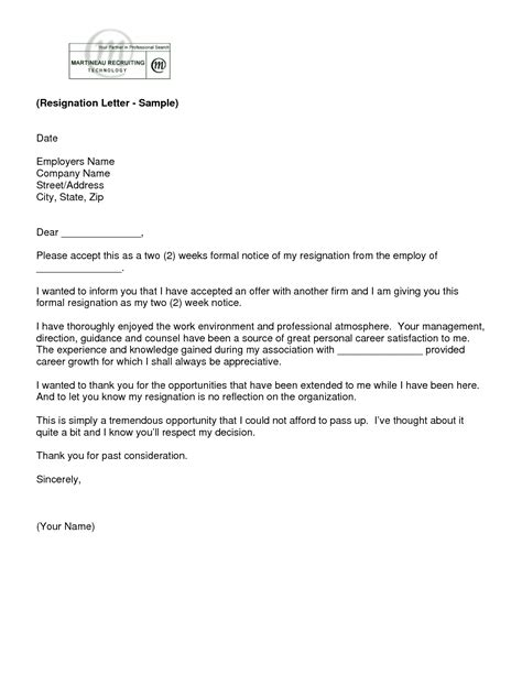 Formal Two Weeks Resignation Letter letter of resignation 2 weeks notice template ew