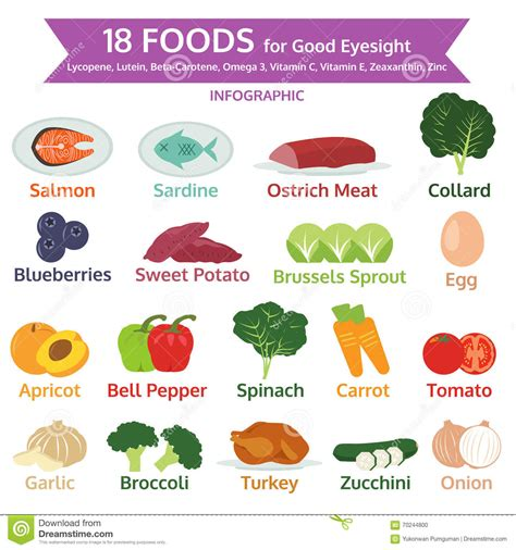 foods for better eyesight foods for eyesight info graphic food icon vector