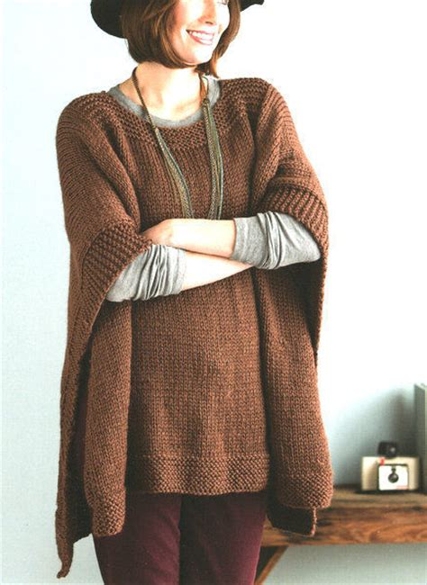 chunky poncho knitting pattern easy beginner womans poncho one size chunky wool