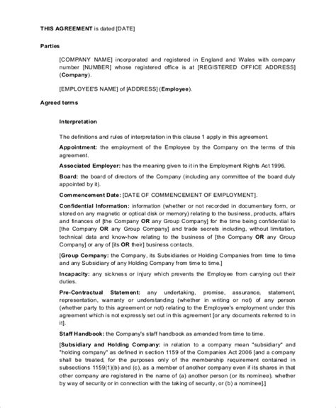 7 Employment Contract Sles Exles Templates Sle Templates Executive Employment Contract Template