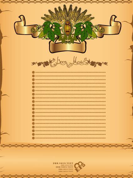 background daftar menu antique beer menu vector background free vector in