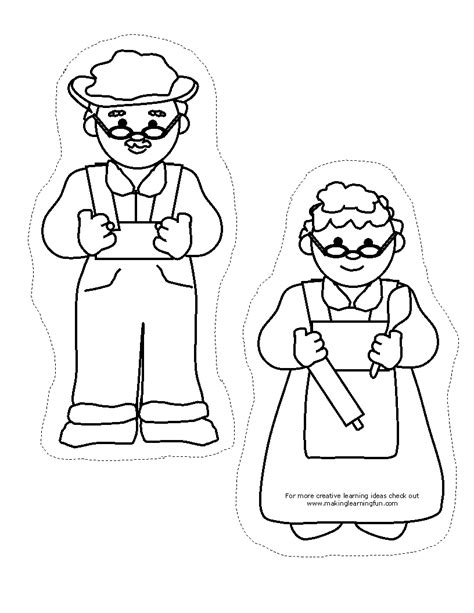cut out character template free finger puppet coloring pages