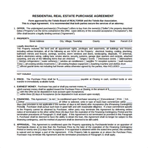 sle real estate purchase agreement template 7 free