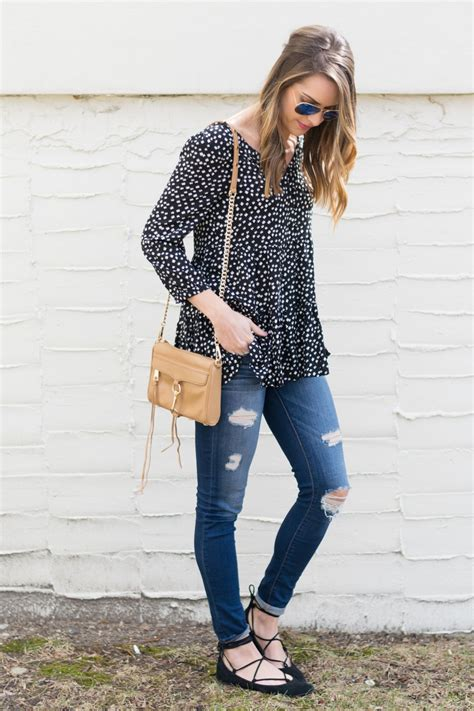 black lace  flats outfit distressed jeans rebecca