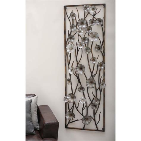 home depot wall decor 24 in x 72 in modern brown and gray iron flower and vine