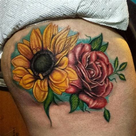 sunflower and rose tattoo and realistic sunflower tattoos