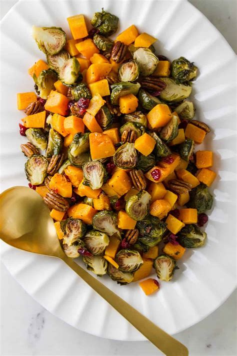 roasted brussels sprouts squash  cranberries pecans
