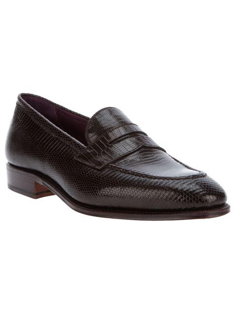 carmina loafer carmina shoemaker lizard skin loafer in brown for lyst