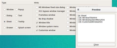 qt layout types window flags exle qt widgets 5 10