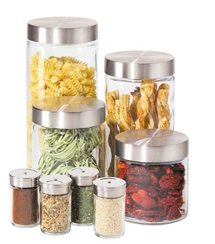 Airtight Spice Containers 8 Pc Airtight Jars Glass Canister Spice Jar Set Stainless