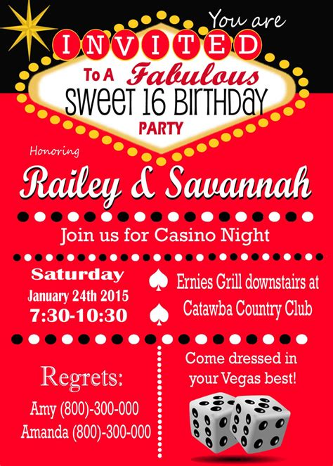 las vegas themed invitation wording casino theme las vegas sweet 16 invitation retro