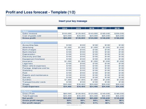 profit forecast template financial plan and templates