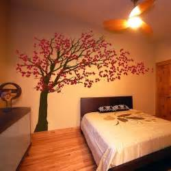 interior design wall stickers cherry blossom tree blowing in the wind wall decals