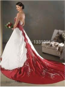 Red and white wedding dresses 2015 new fashion sexy strapless bridal