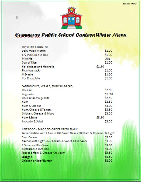 canteen card templates menu templates archives microsoft word templates