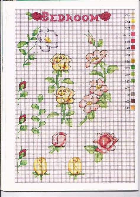 schema punto croce fiori gialle rosa rosse chiuse e aperte schemi da ricamare