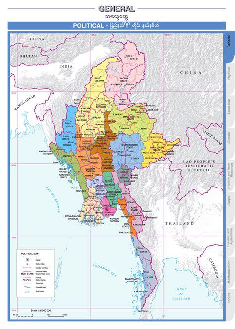 political maps birma politische karte