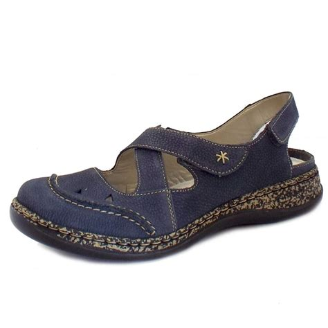 Comfortable Shoes by Rieker Shoes Capra Velcro Navy Comfortable Shoes