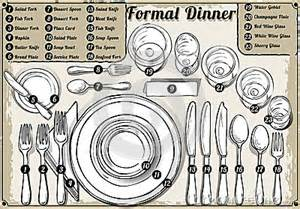 Proper Table Setting For Formal Dinner - vintage hand drawn place setting formal dinner stock vector image 46136268
