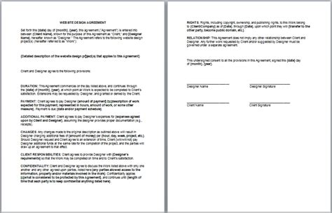excellent template sample  website design agreement featuring duration  payment