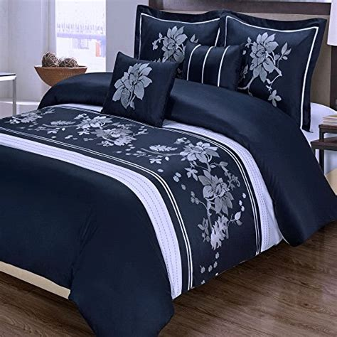 navy and white king size 5pc modern floral navy blue white cotton bedding duvet cover set kingcal king size nespressous8